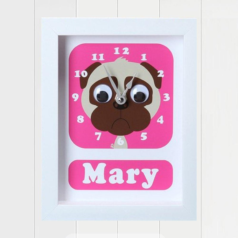Doug Pug Personalised Clock