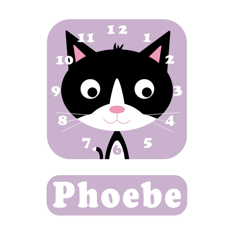 Phoebe Kitten Personalised Clock