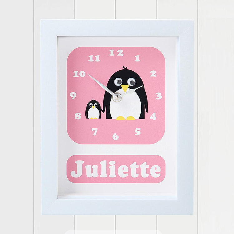 Personalised - Clocks - Poppy & Petula Penguin Clock