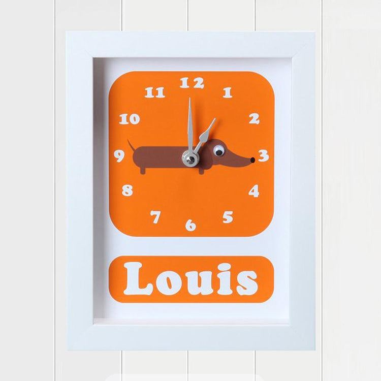 Personalised - Clocks - Sol Sausage Dog Personalised Clock