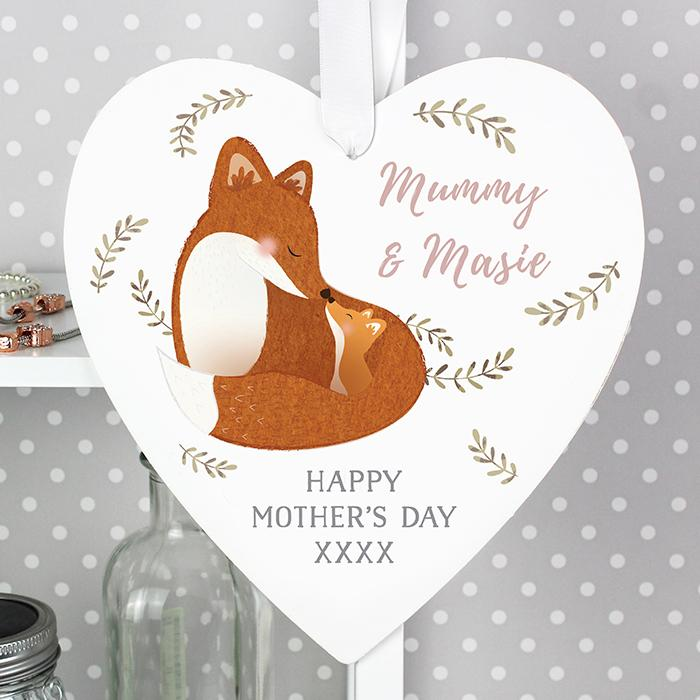 Personalised - For Her - Personalised Mummy And Me Fox Wooden Heart Decoration