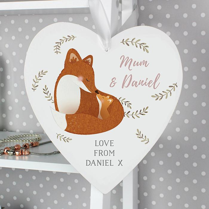 Personalised Mummy and Me Fox Wooden Heart Decoration