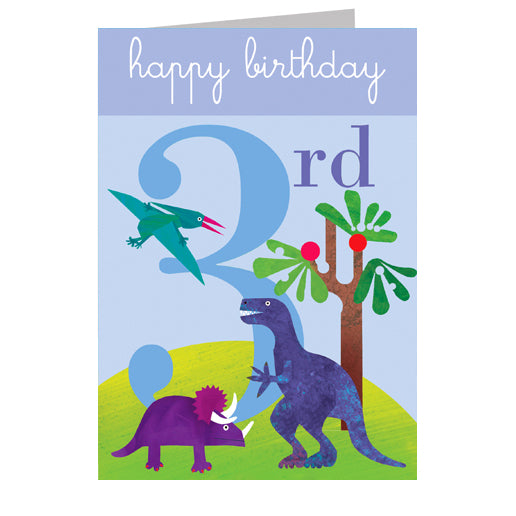 3rd Birthday Card - Dinosaurs