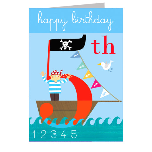 5th Birthday Card - Flags - I Want That Present