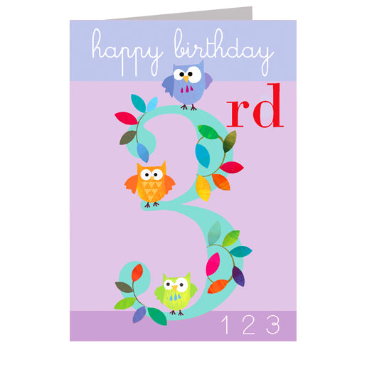 3rd Birthday Card - Owls - I Want That Present
