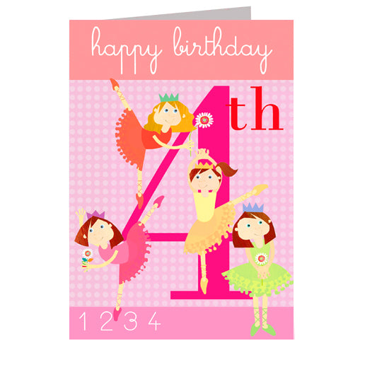 4th Birthday Card - Ballerinas - I Want That Present