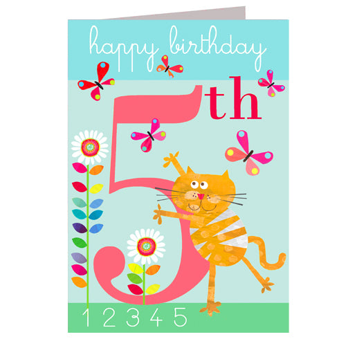 5th Birthday Card - Butterflies - I Want That Present