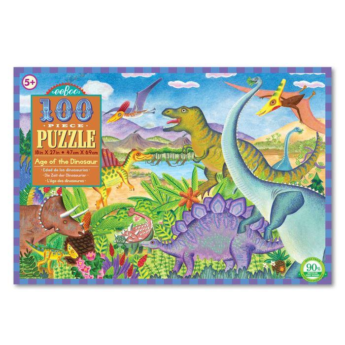 Puzzles - EeBoo - 100 Piece Age Of The Dinosaur Puzzle