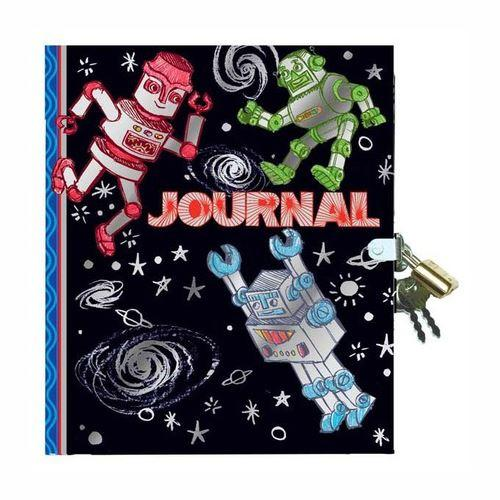 Stationery - Metalic Foil Robot Lock And Key Journal