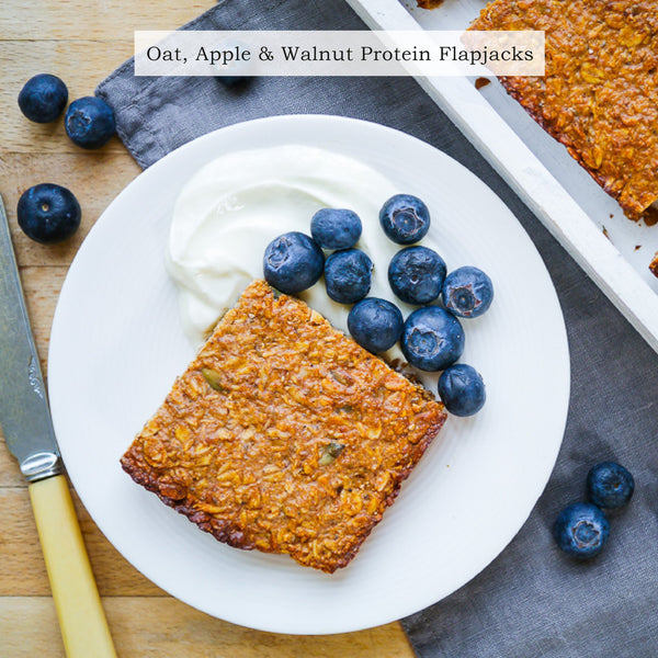 Vanilla protein, oat, apple and walnut flapjacks