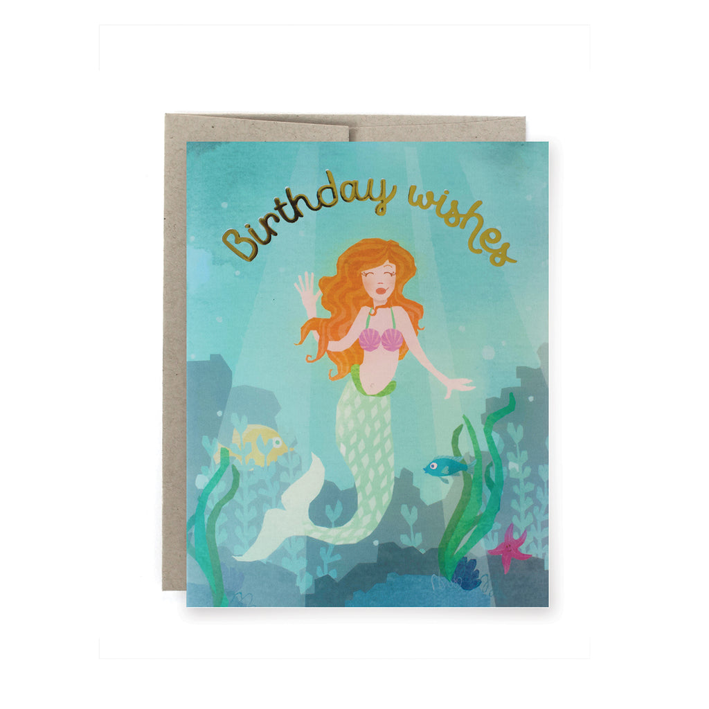 Mermaid Wishes Birthday Foil Card
