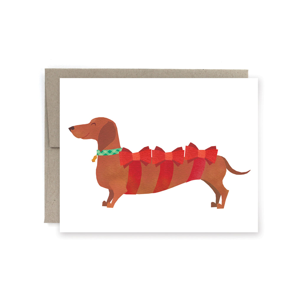 Dachshund Present Holiday Card