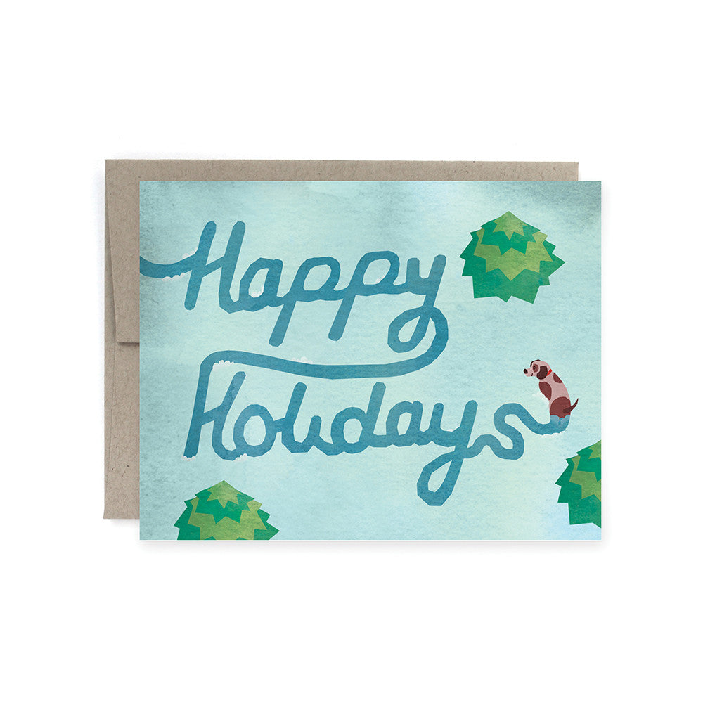 Happy Holidays Dog Path Card