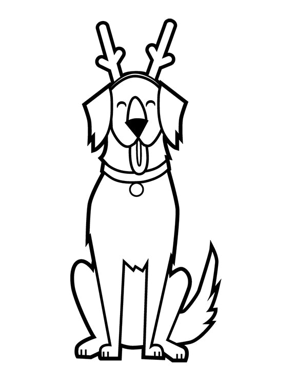 Reindeer Dog Colouring Page