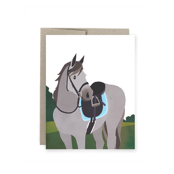 Grey Equine Horse Card