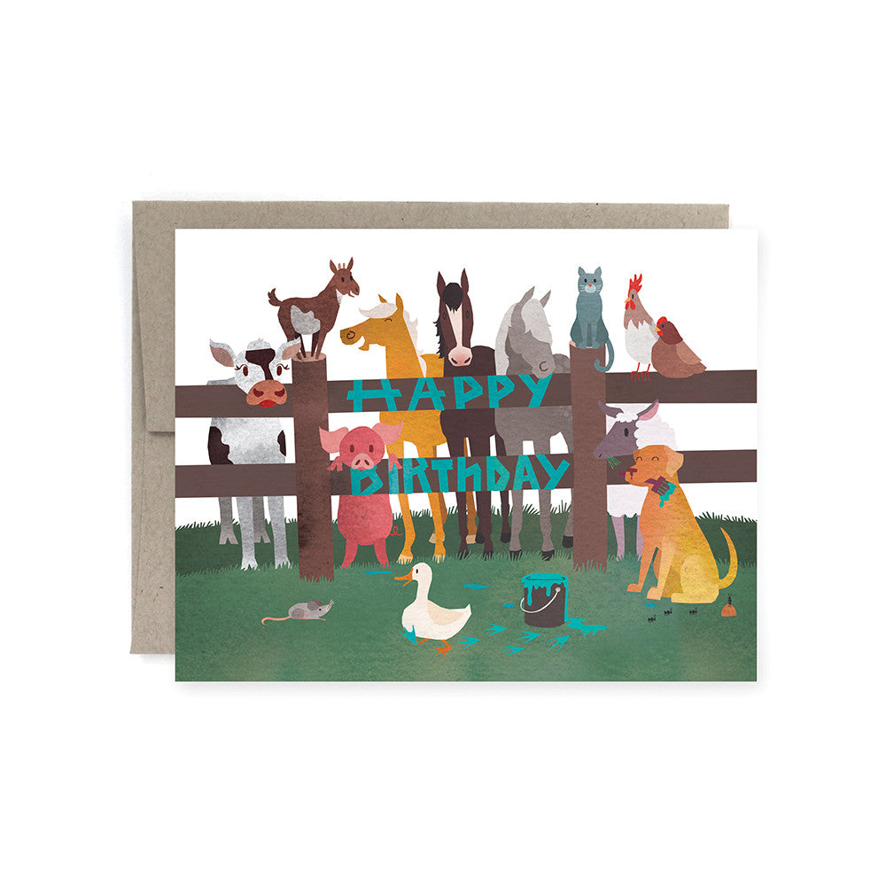 Happy Birthday Farm Animals Card