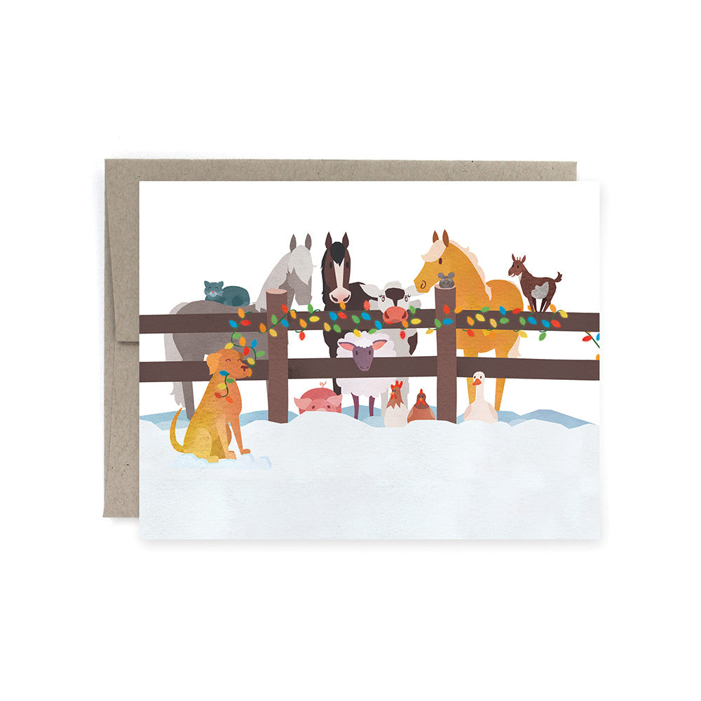 Farm Animals Festive Holiday Card Pack