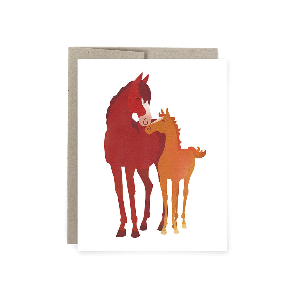 Mare and Foal Horse Card