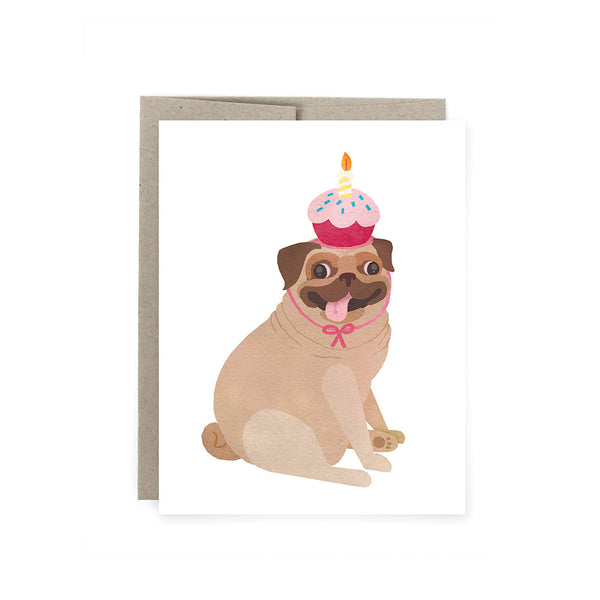 Pugcake Birthday Card