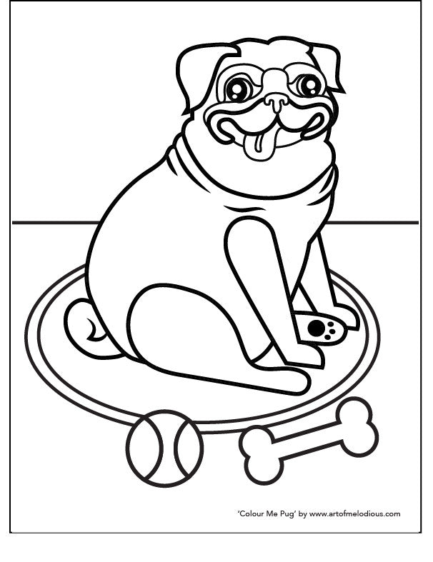 Pug Dog Colouring Page Artofmelodious