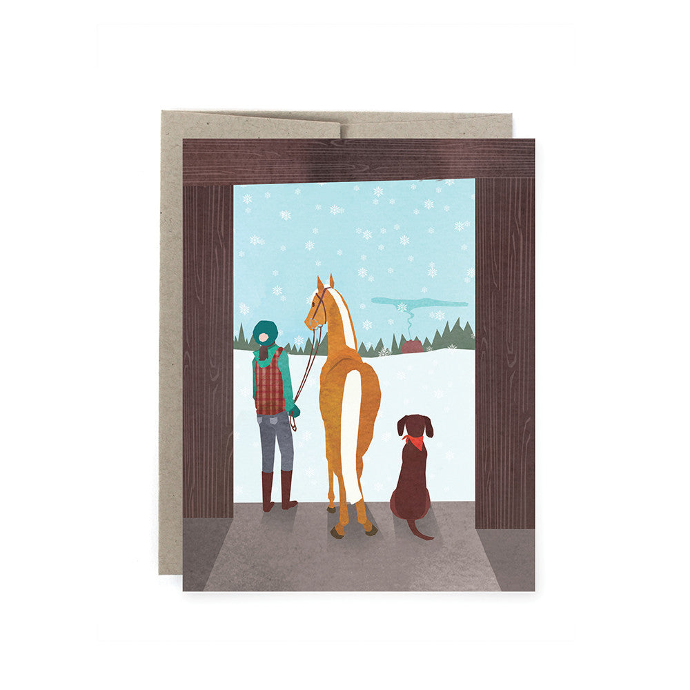 A Snowy Day Horse Holiday Card