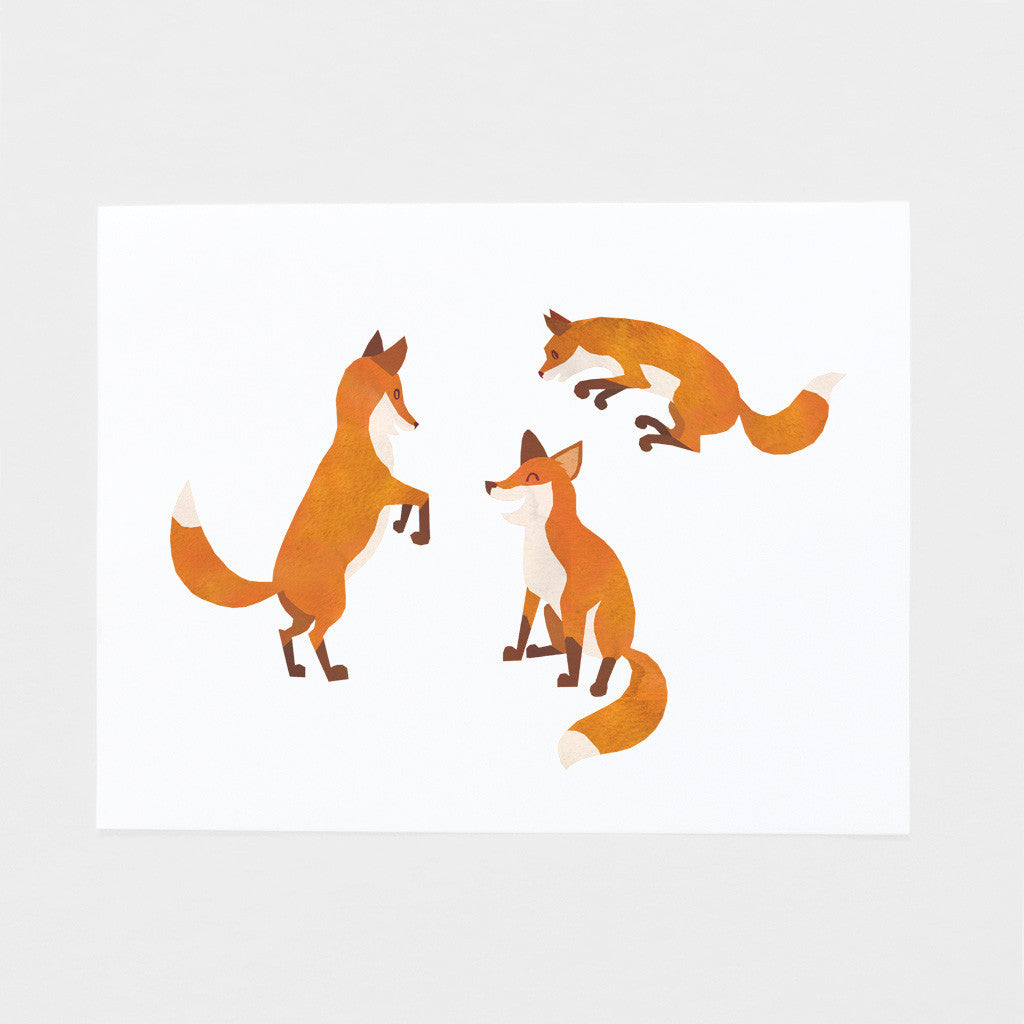 Baby Foxes Playtime Art Print