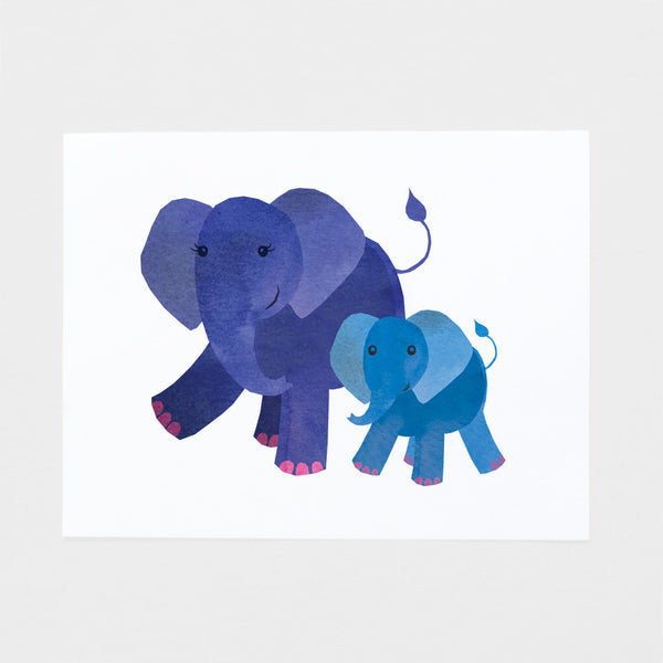 Elephant Mom and Baby Art Print