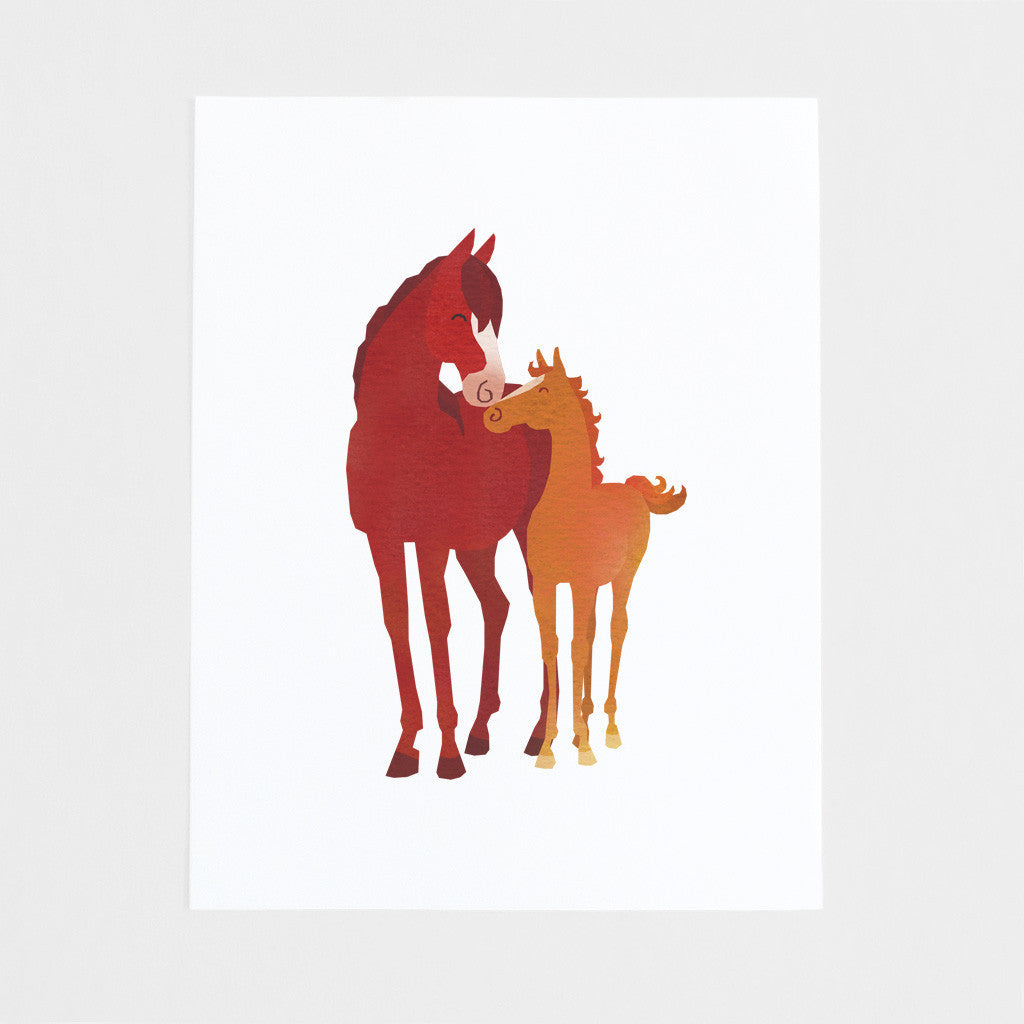 Mom and Baby Horse Art Print