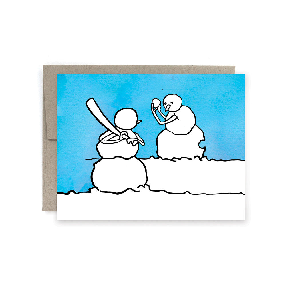 Snowman Baseball Holiday Card