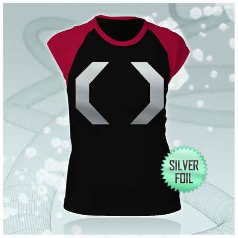 Celldweller - Cellblock Silver-Foil Girls Black/Red Baby Rib Cap Sleeve