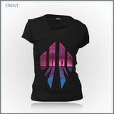 Scandroid - Cyberpunk Twilight Women's Deep V-Neck T-Shirt