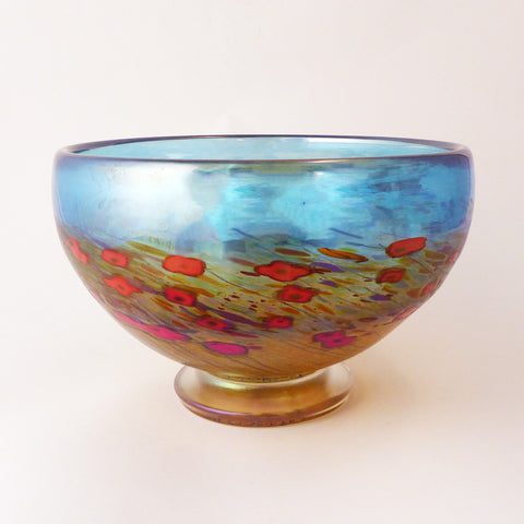 California Poppies Footed Bowl