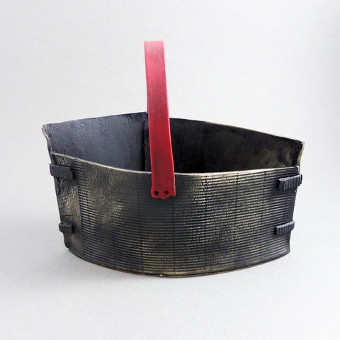 Hand Built Basket with Red Handle