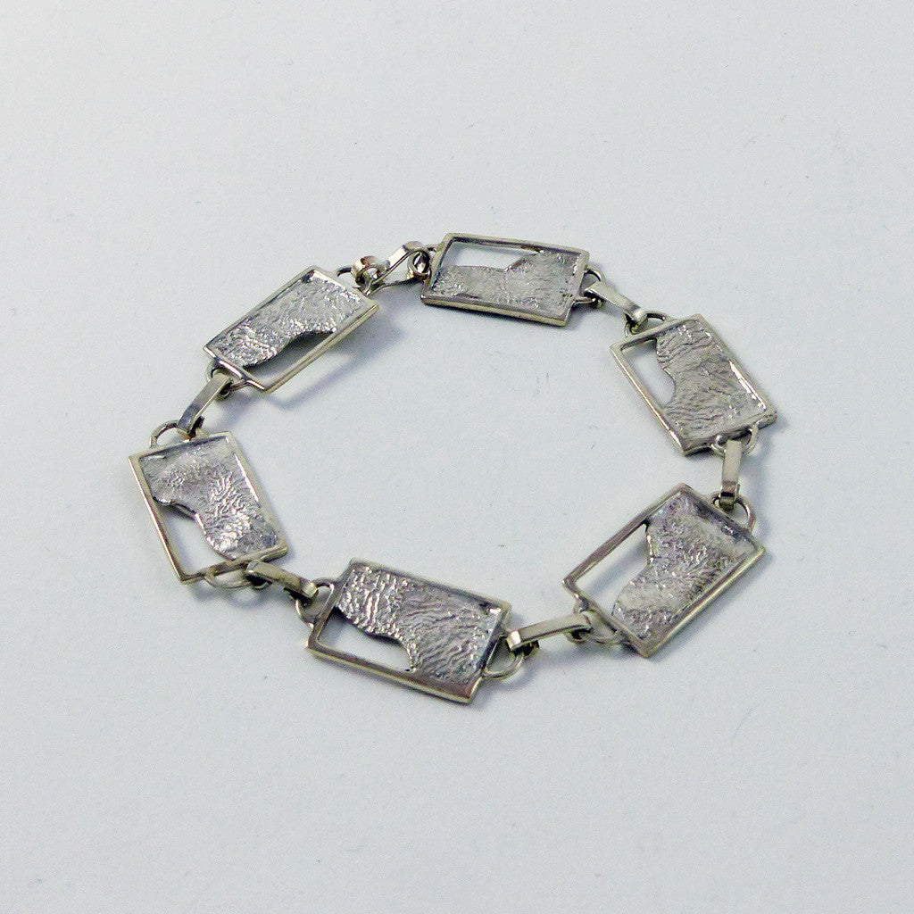 Sterling Silver Bracelet, Reticulated Rectangle Series (B2)