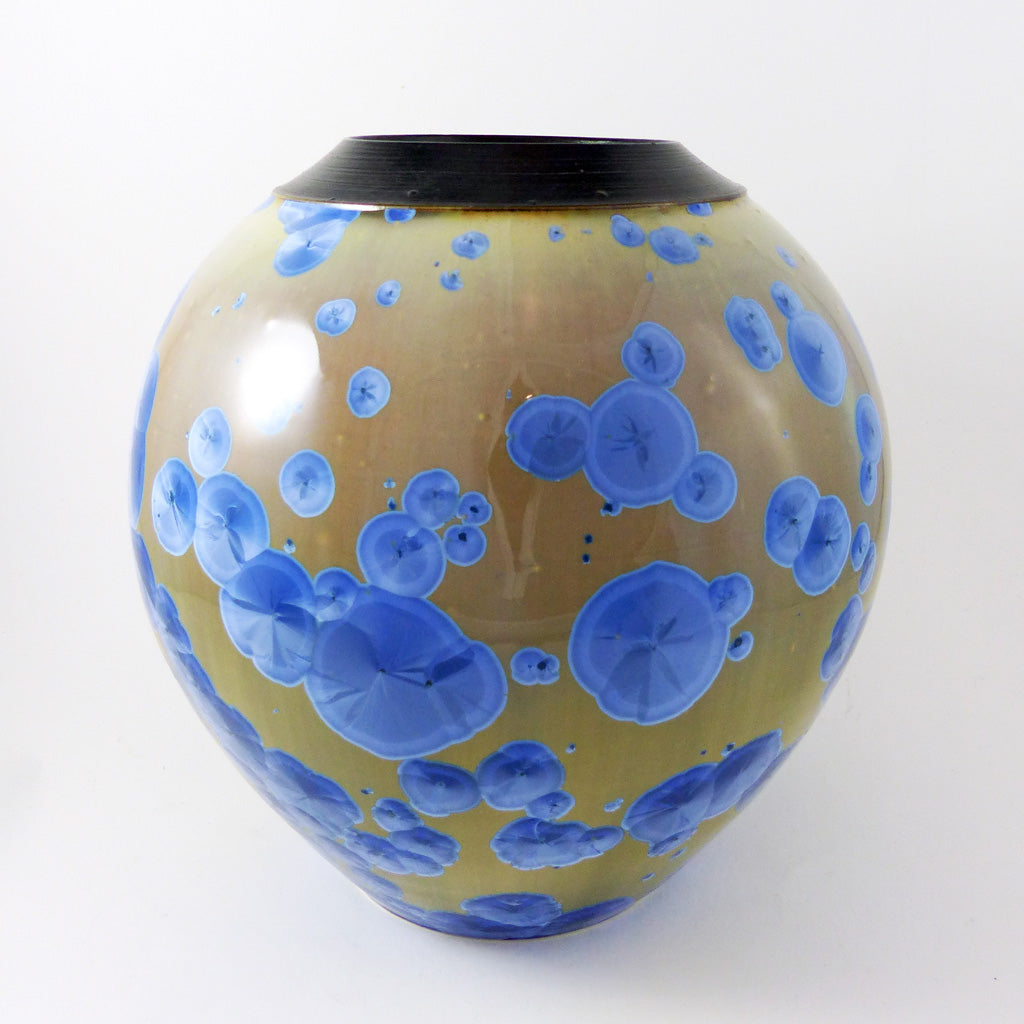Large, Wide Crystalline Vase- Brown & Blue