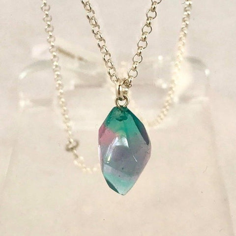 Faceted Crystal Pendant- Teal & Pink