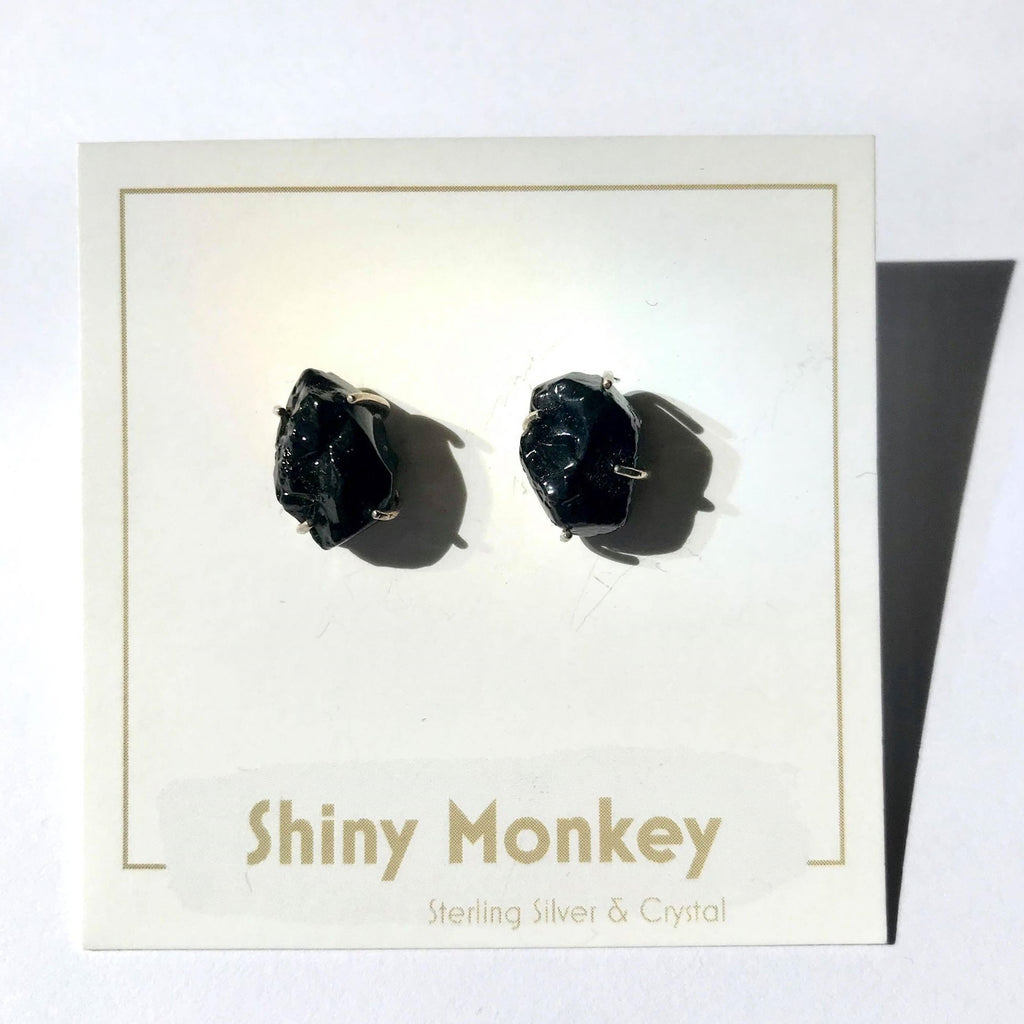 Faceted Crystal Earrings- Black
