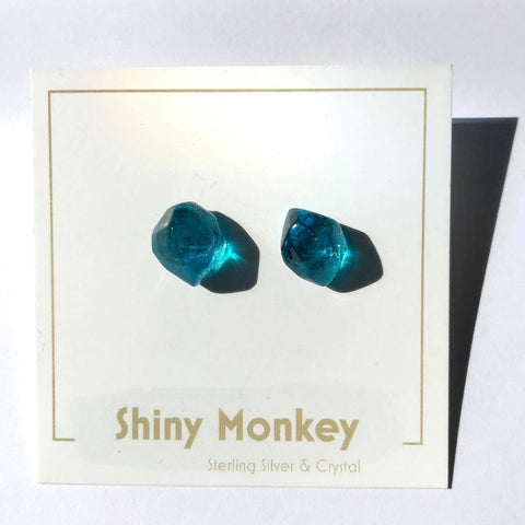 Faceted Crystal Earrings- Teal