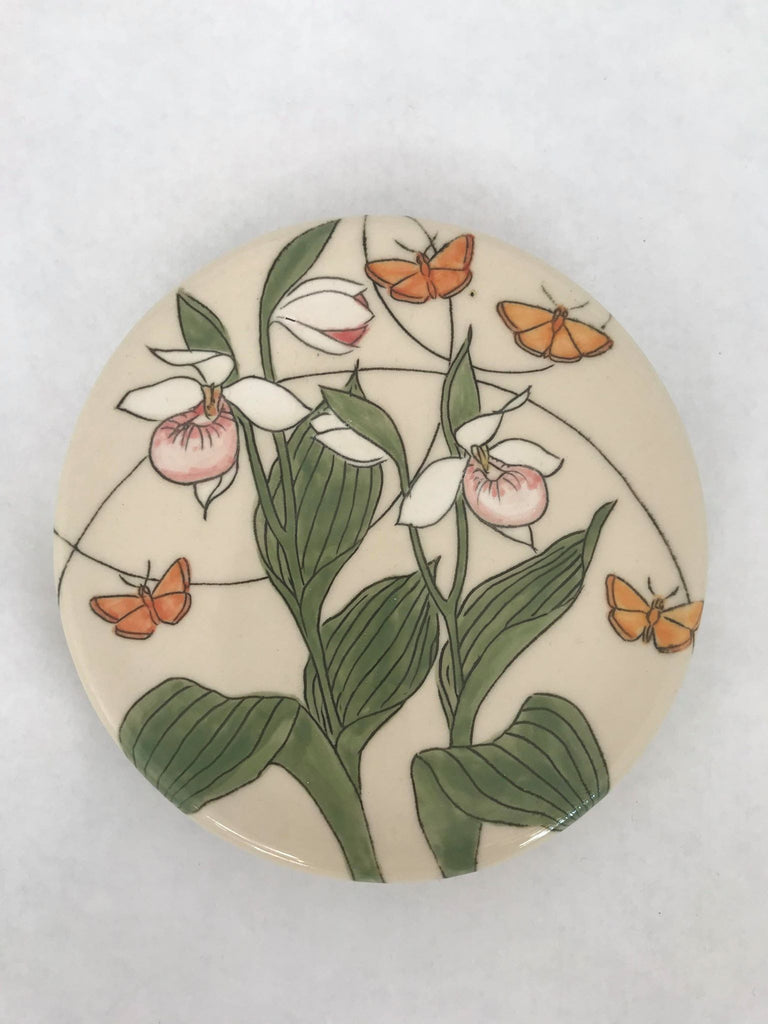 Trivet- White Flower Orange Butterfly
