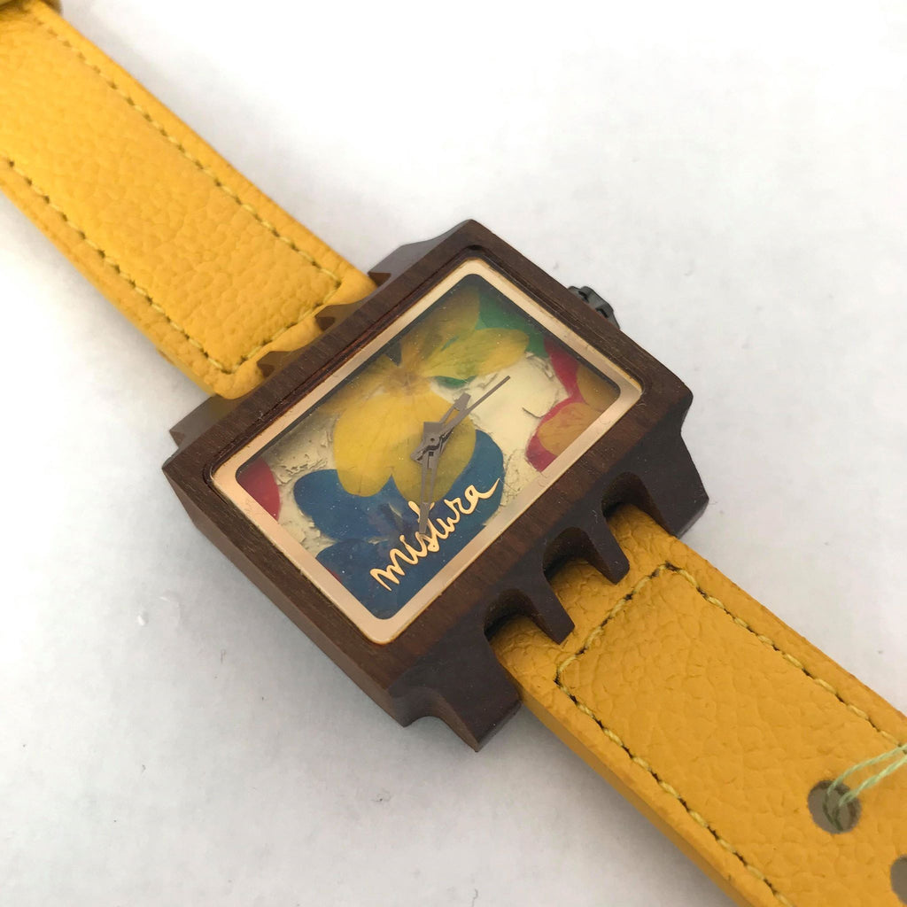 Rectangular Multicolour Floral Watch w/ Yellow Band