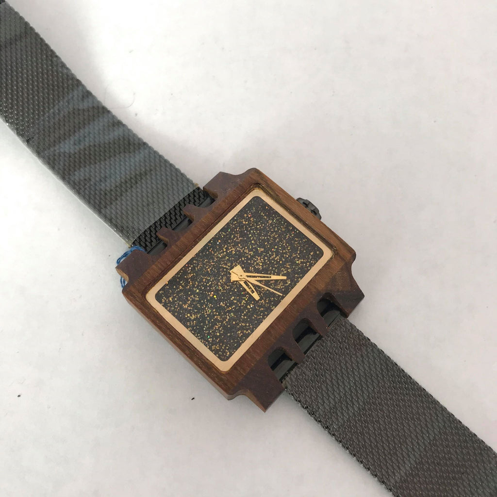 Wooden Gold Glimmer Watch w/ Black Metal Band
