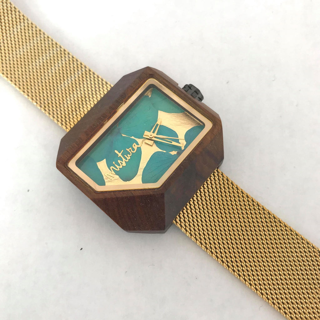 Wooden Turquoise Floral Watch w/ Gold Metal Band