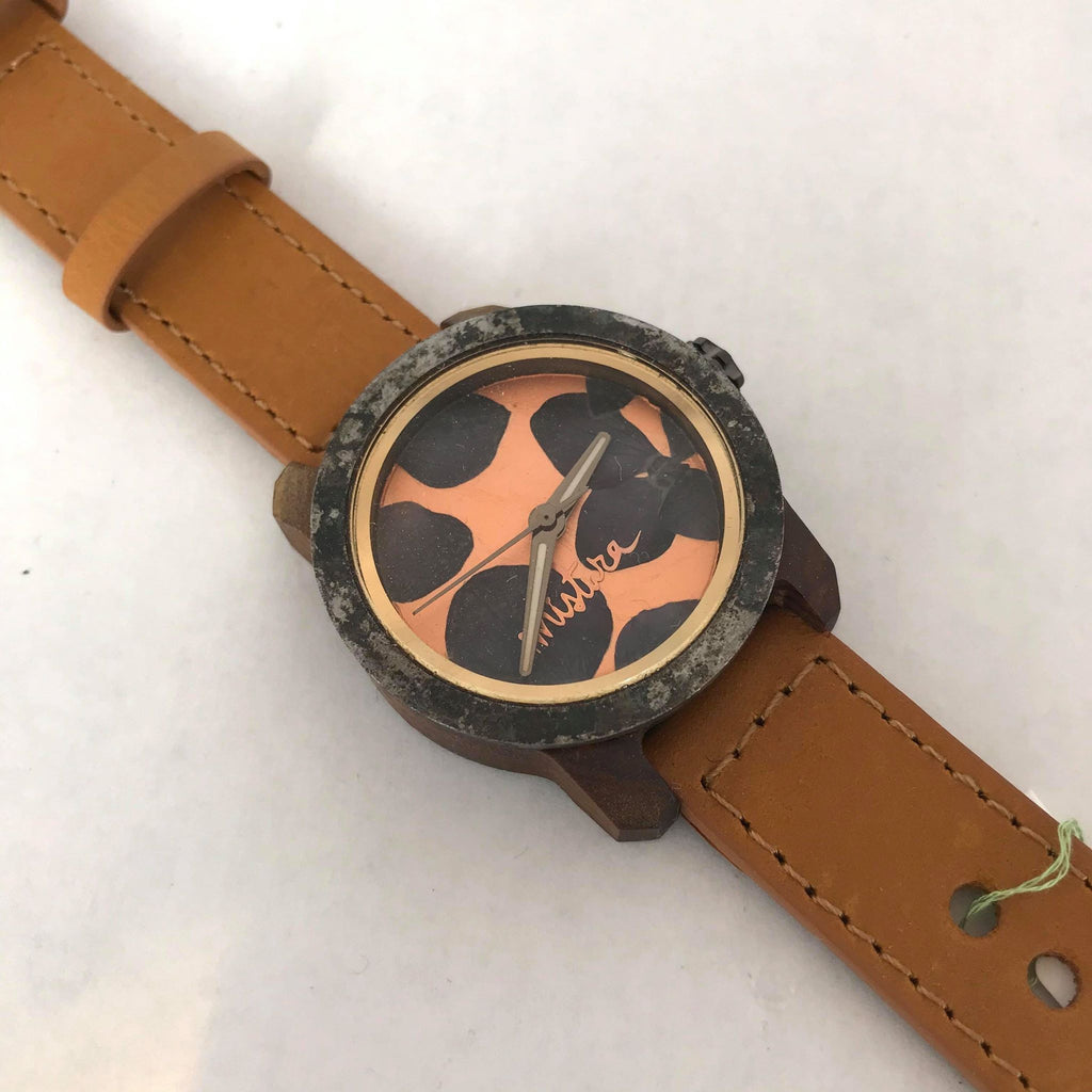 Orange and Black Petal Watch w/ Tan Band