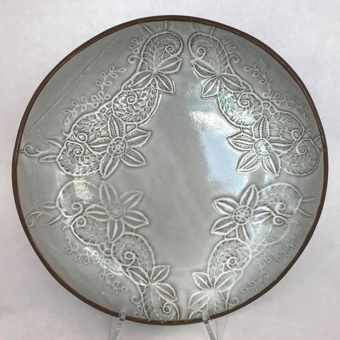 Grey Lace Embossed Shallow Bowl- Large