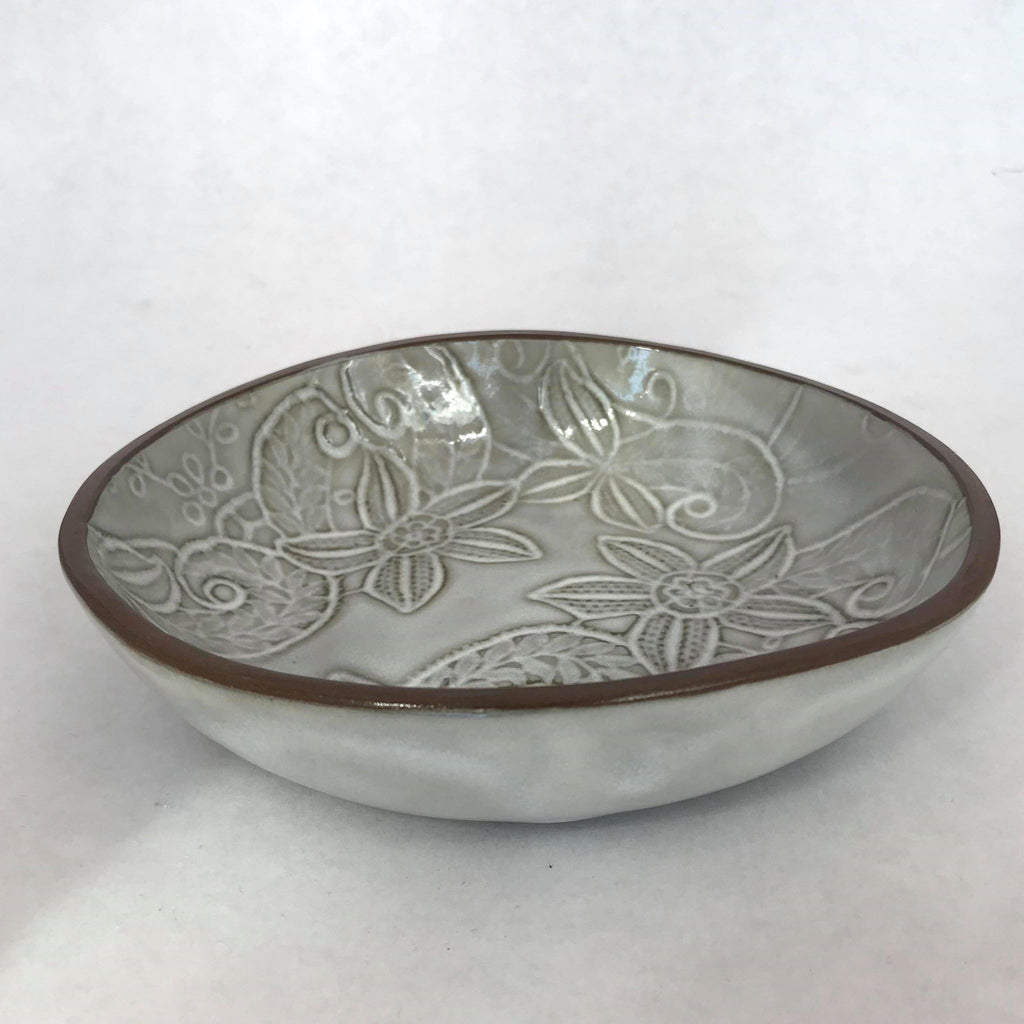 Grey Embossed Floral Bowl- Small