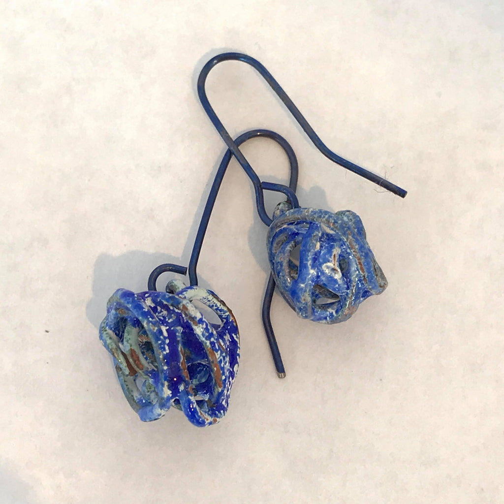 Wrapped Wire Enamel Earrings- Blue