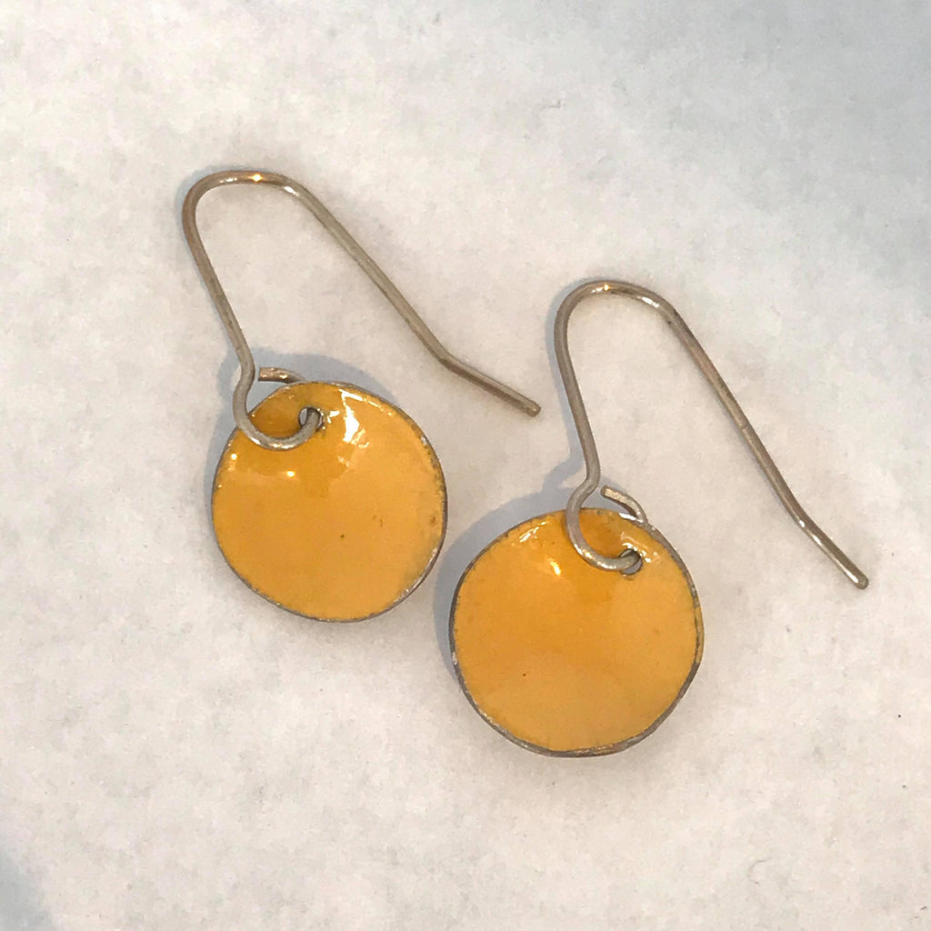 Circular Enamel Earrings- Yellow
