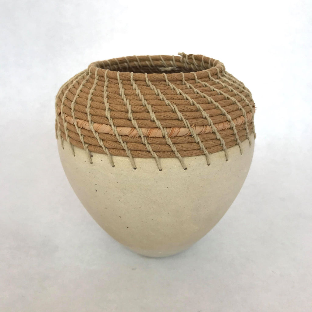 Seagrass Coiled Pot-Beige-Wide