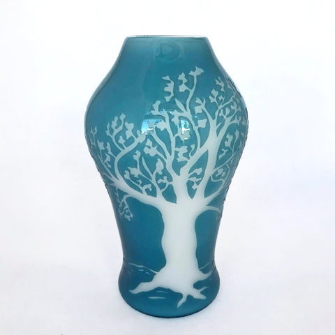 Tree Vase- Light Blue & White