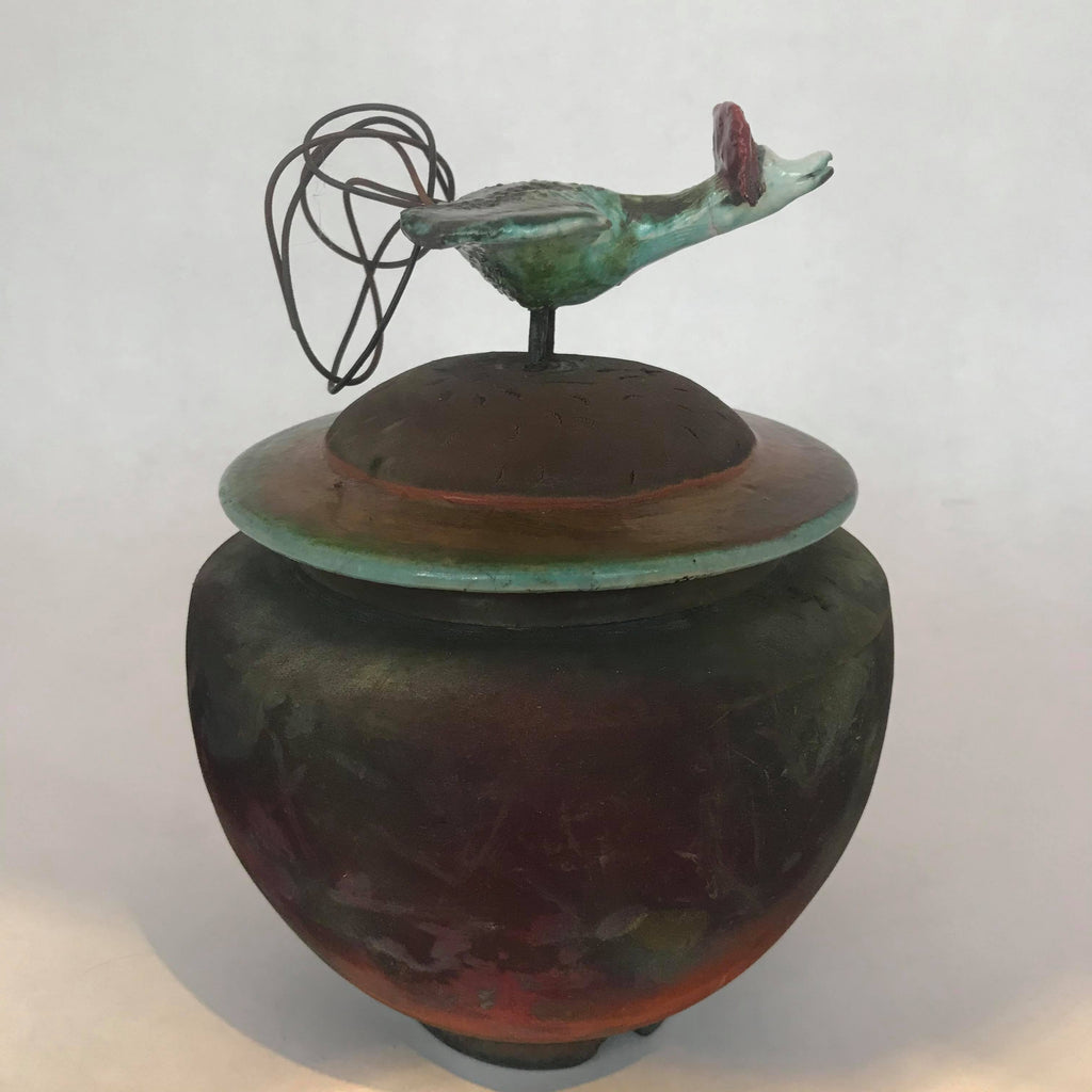 Vase with Perched Goose on Lid